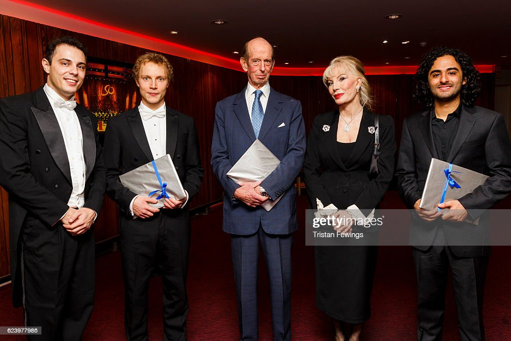 Vlad Vizireanu, Niklas Benjamin Hoffmann, Prince Edward, Duke of Kent, Donatella Flick and Kerem Hasan backstage at the Donatella Flick LSO Conducting Competition at the Barbican Centre on November 17, 2016 in London, England.