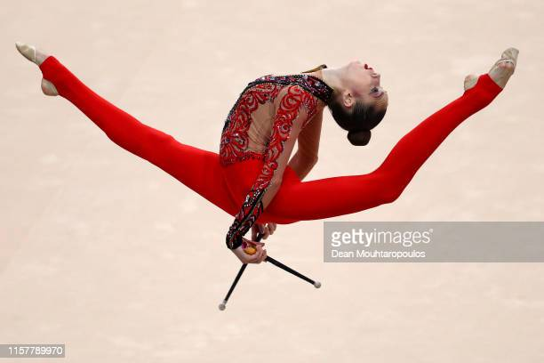 Vlada Nikolchenko of Ukraine competes in the Rhythmic Gymnastics Women's clubs Finals during the 2nd European Games held in the Minsk Arena on June...