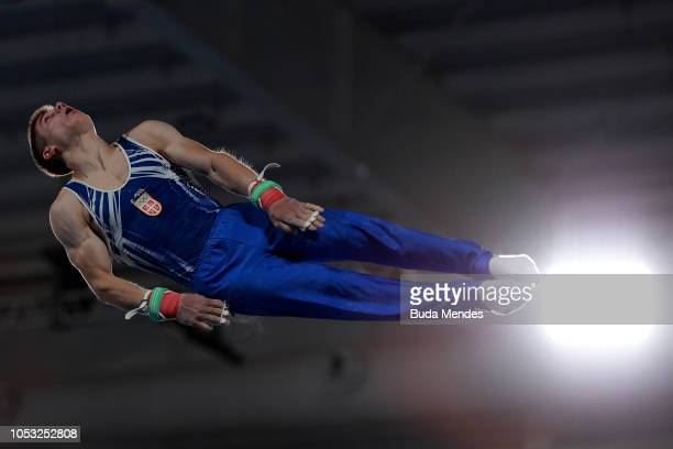 Vlada Rakovic of Serbia competes in Men's Horizontal Bar Qualification during Day 4 of Buenos Aires 2018 Youth Olympic Games at America Pavilion of...