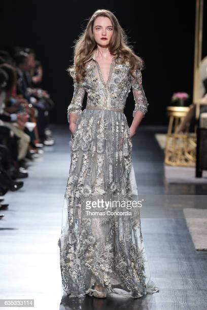 Vlada Roslyakova walks the runway wearing Badgley Mischka during New York Fashion Week at Gallery 1 Skylight Clarkson Sq on February 14 2017 in New...