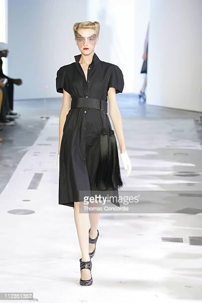 Vlada Roslyakova wearing Boudicca Spring 2006 during Olympus Fashion Week Spring 2006 Boudicca Runway at Bumble Bumble in New York City New York...