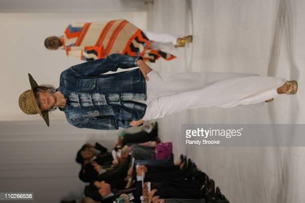 Vlada Roslyakova wearing Ralph Lauren Spring 2006 during Olympus Fashion Week Spring 2006 Ralph Lauren Runway at The Annex in New York City New York...