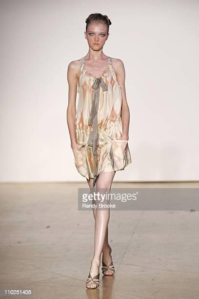 Vlada Roslyakova wearing Zaldy Spring 2006 during Olympus Fashion Week Spring 2006 Zaldy Runway at The Altman Building in New York City New York...