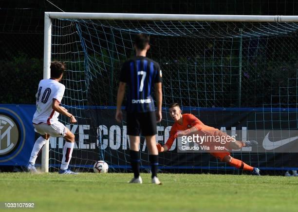 Vladan Dekic of FC Internazionale attempts a save during Fc Internazionale U19 V Cagliari U19 match at Stadio Breda on September 14 2018 in Sesto San...