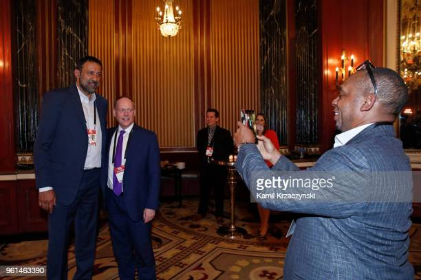 Vlade Divac GM of the Sacramento Kings takes a photo during the 2018 NBA Draft Lottery at the Palmer House Hotel on May 15 2018 in Chicago Illinois...