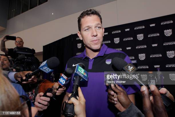 Vlade Divac introduces Luke Walton as the new Head Coach of the Sacramento Kings at a press conference on April 15 2019 at the Golden 1 Center in...