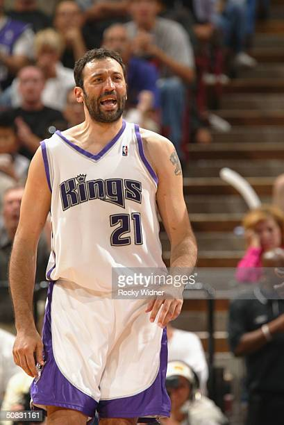 Vlade Divac of the Sacramento Kings screams out during a break in the action against the Minnesota Timberwolves in game four of the Western...