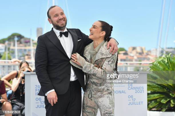 """Vladimar Johannsson and Noomi Rapace attend the """"The French Dispatch"""" photocall during the 74th annual Cannes Film Festival on July 13, 2021 in..."""