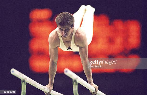 Vladimer Lado Gogoladze of the Soviet Union performs during the Men's Parallel Bars on 24th September 1988 during the XXIV Summer Olympic Games at...