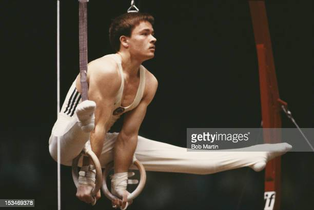 Vladimir Artemov of the Soviet Union performs during his Rings exercise on 21st October 1987 during the World Artistic Gymnastics Championships in...