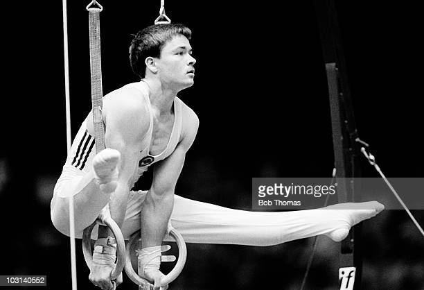 Vladimir Artemov of the USSR performing on the rings at the World Gymnastics Championships held in Rotterdam in October 1987