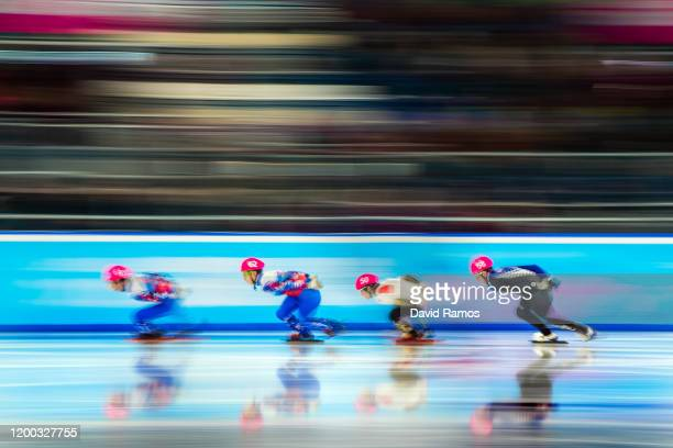 Vladimir Balbekov of Russia, Daniil Nikolaev of Russia, Kosei Hayashi of Japan and Ethan De Rose of New Zealand compete in Men's 1000m Short Track...