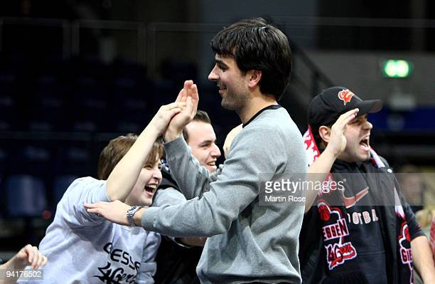 Vladimir Bogojevic head coach of Giessen celebrates after the Beko Basketball Bundesliga game between New Yorker Phantoms Braunschweig and Lti...