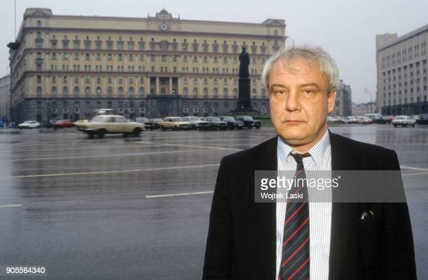 Vladimir Bukovsky writer dissident and defender of human rights in the USSR standing in front of the Lubyanka building headquarters of KGB Moscow...