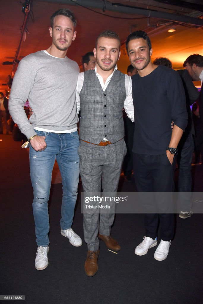 Vladimir Burlakov, Edin Hasanovic and Kostja Ullmann attend the After Party of the premiere of the Amazon series 'You are wanted' at CineStar on March 15, 2017 in Berlin, Germany.