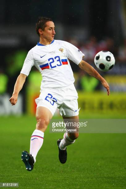 Vladimir Bystrov of Russia in action during the UEFA EURO 2008 Group D match between Spain and Russia at Stadion Tivoli Neu on June 10 2008 in...