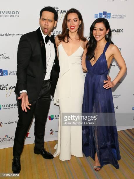 Vladimir Caamano Aubrey Plaza and Aimee Garcia attend the 21th Annual National Hispanic Media Coalition Impact Awards Gala on February 23 2018 in...