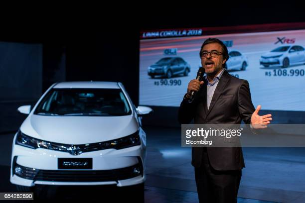 Vladimir Centuriao, director of planning in sales and marketing of Brazil at Toyota Motor Corp., speaks during a launch event for the new2018 Toyota...