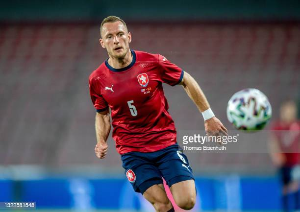 Vladimir Coufal of the Czech Republic in action during the international friendly match between the Czech Republic and Albania at Generali Arena on...