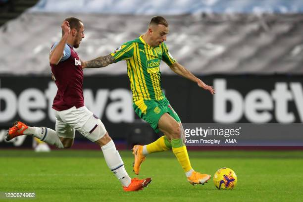 Vladimir Coufal of West Ham United and Kamil Grosicki of West Bromwich Albion during the Premier League match between West Ham United and West...