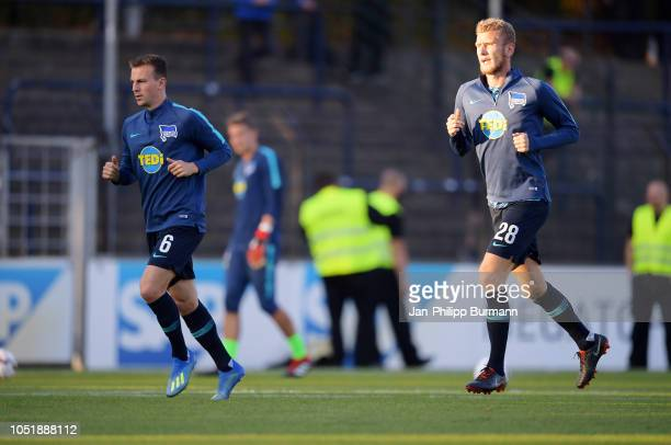Vladimir Darida and Fabian Lustenberger of Hertha BSC before the game between Hertha BSC and the SV Babelsberg 03 at the KarlLiebknechtStadion on...