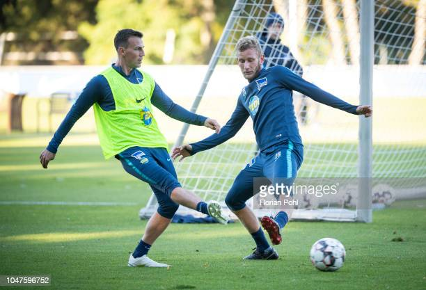 Vladimir Darida and Fabian Lustenberger of Hertha BSC during the training at Schenkendorfplatz on October 8 2018 in Berlin Germany