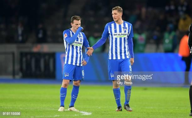 Vladimir Darida and Niklas Stark of Hertha BSC after the first Bundesliga game between Hertha BSC and 1st FSV Mainz 05 at olympiastadion on February...