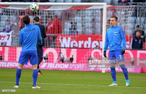 Vladimir Darida and Peter Pekarik of Hertha BSC before the Bundesliga match between FC Bayern Muenchen and Hertha BSC at the Allianz Arena on...