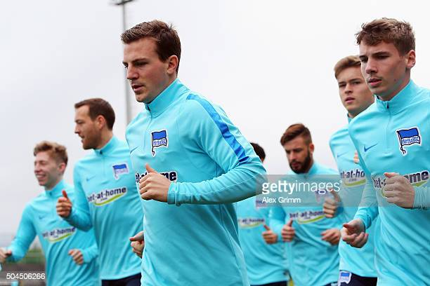 Vladimir Darida and team mates run during a Hertha BSC Berlin training session on day 6 of the Bundesliga Belek training camps at Gloria Sports...