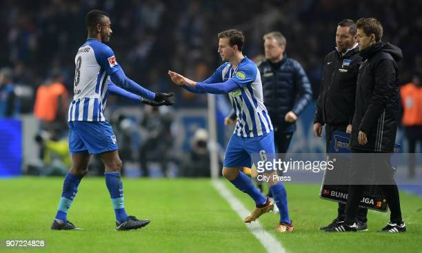 Vladimir Darida comes on during a substitute for Salomon Kalou of Hertha BSC during the game between Hertha BSC and Borussia Dortmund on january 19...