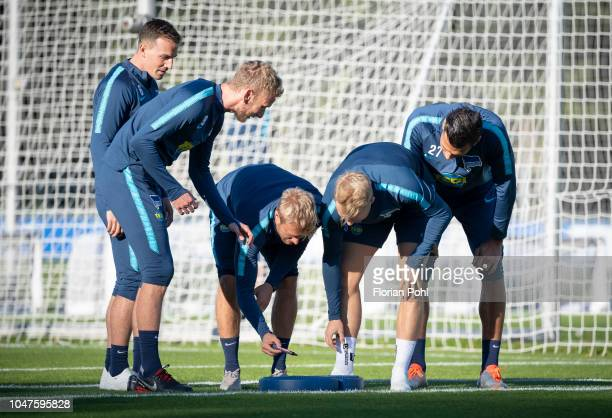 Vladimir Darida Fabian Lustenberger Per Skjelbred Pascal Koepke and Davie Selke of Hertha BSC during the training at Schenkendorfplatz on October 8...