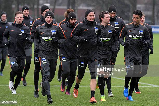 Vladimir Darida Marvin Plattenhardt Per Skjelbred Valentin Stocker and Sami Allagui of Hertha BSC during the first training of the year on January 3...