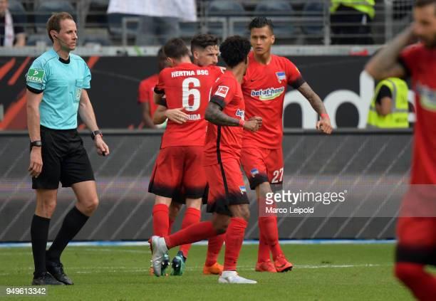 Vladimir Darida Mathew Leckie Valentino Lazaro and Davie Selke of Hertha BSC celebrate after scoring the 02 during the match between Eintracht...