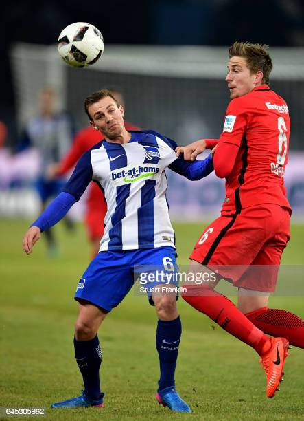 Vladimir Darida of Berlin and Bastian Oczipka of Frankfurt battle for the ball during the Bundesliga match between Hertha BSC and Eintracht Frankfurt...
