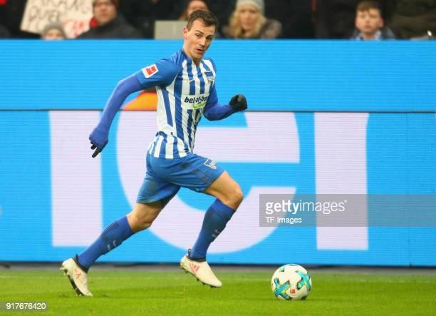 Vladimir Darida of Berlin controls the ball during the Bundesliga match between Bayer 04 Leverkusen and Hertha BSC at BayArena on February 10 2018 in...