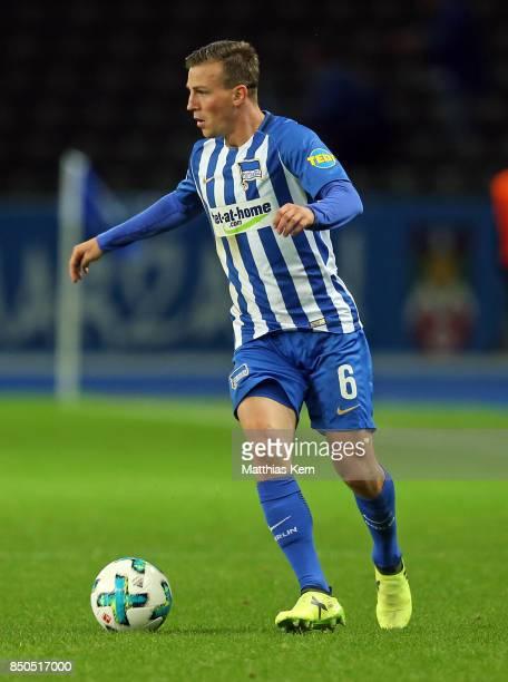 Vladimir Darida of Berlin runs with the ball during the Bundesliga match between Hertha BSC and Bayer 04 Leverkusen at Olympiastadion on September 20...