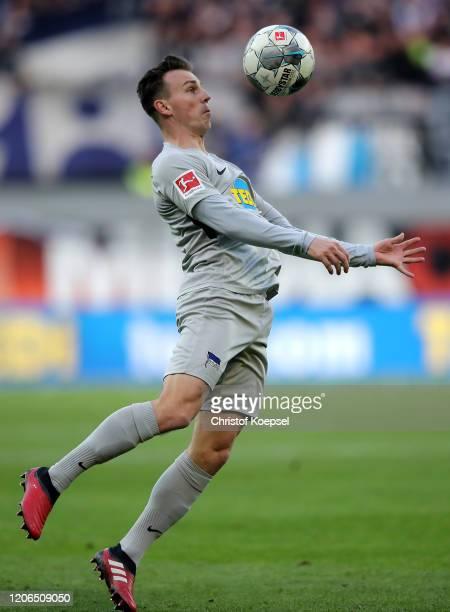 Vladimir Darida of Berlin stops the ball during the Bundesliga match between SC Paderborn 07 and Hertha BSC at Benteler Arena on February 15 2020 in...