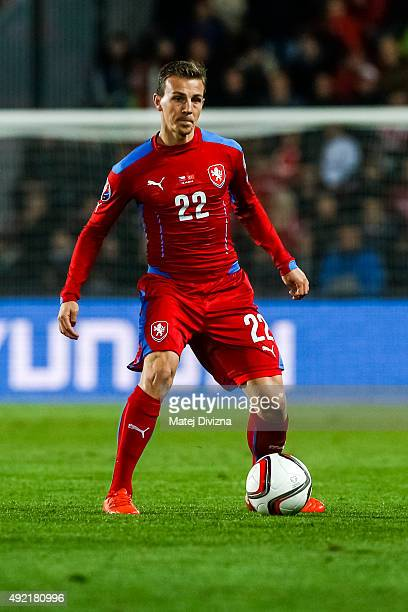 Vladimir Darida of Czech Republic in action during the UEFA EURO 2016 Group A Qualifier match between Czech Republic and Turkey at Letna Stadium on...