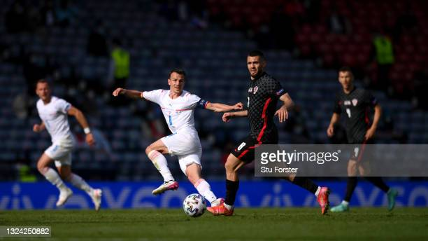 Vladimir Darida of Czech Republic passes the ball whilst under pressure from Mateo Kovacic of Croatia during the UEFA Euro 2020 Championship Group D...