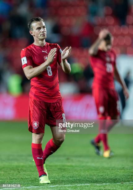 Vladimir Darida of Czech Republic reacts after the FIFA 2018 World Cup Qualifier between Czech Republic and Germany at Eden Stadium on September 1...