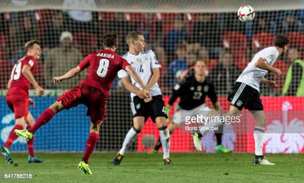 Vladimir Darida of Czech Republic scores his team's first goal during the FIFA 2018 World Cup Qualifier between Czech Republic and Germany at Eden...