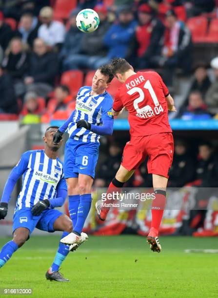 Vladimir Darida of Hertha BSC and Dominik Kohr of Bayer 04 Leverkusen during the first Bundeliga game between Bayer 04 Leverkusen and Hertha BSC at...