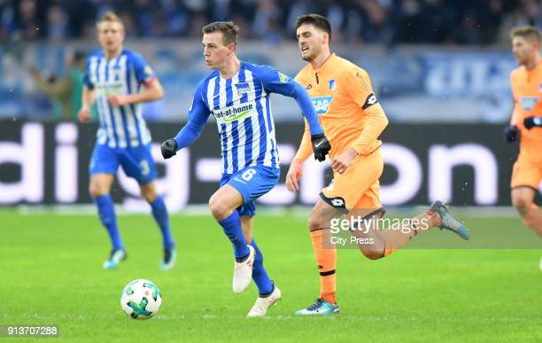 Vladimir Darida of Hertha BSC and Florian Grillitsch of the TSG 1899 Hoffenheim during the game between Hertha BSC and TSG Hoffenheim on february 3...