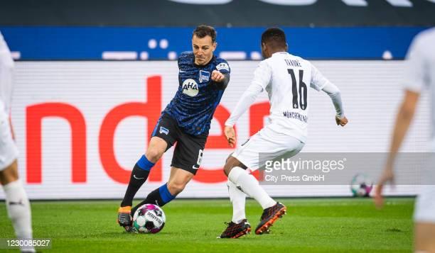 Vladimir Darida of Hertha BSC and Ibrahim Traore of Borussia Moenchengladbach during the Bundesliga match between Borussia Moenchengladbach and...