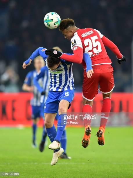 Vladimir Darida of Hertha BSC and JeanPhilippe Gbamin of FSV Mainz 05 during the first Bundesliga game between Hertha BSC and 1st FSV Mainz 05 at...