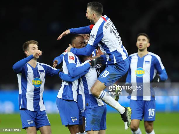Vladimir Darida of Hertha BSC celebrates with teammates after scoring their team's first goal during the Bundesliga match between Hertha BSC and...