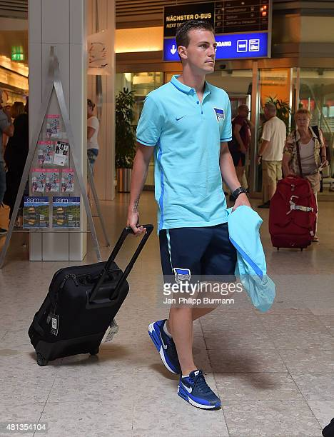Vladimir Darida of Hertha BSC during their arrival at Salzburg Airport ahead of the training camp in Schladming on July 19 2015 in Salzburg Austria