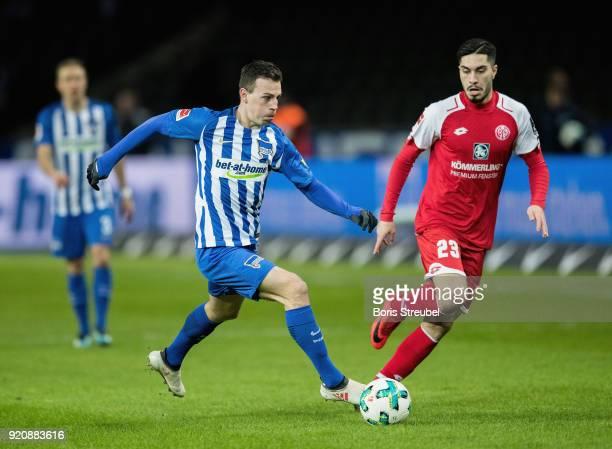 Vladimir Darida of Hertha BSC is challenged by Suat Serder of 1 FSV Mainz 05 during the Bundesliga match between Hertha BSC and 1 FSV Mainz 05 at...