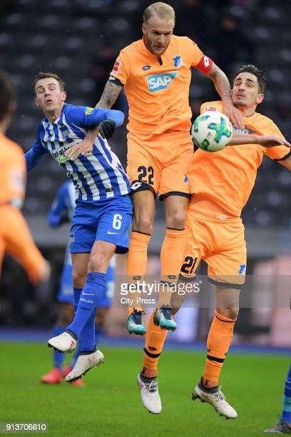 Vladimir Darida of Hertha BSC Kevin Vogt and Benjamin Huebner of the TSG 1899 Hoffenheim during the Bundesliga match between Hertha BSC and TSG...