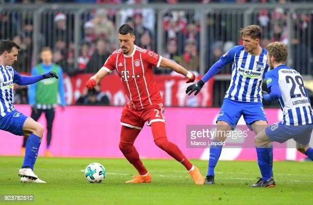 Vladimir Darida of Hertha BSC Sandro Wagner of FC Bayern Muenchen Niklas Stark and Fabian Lustenberger of Hertha BSC during the Bundesliga match...